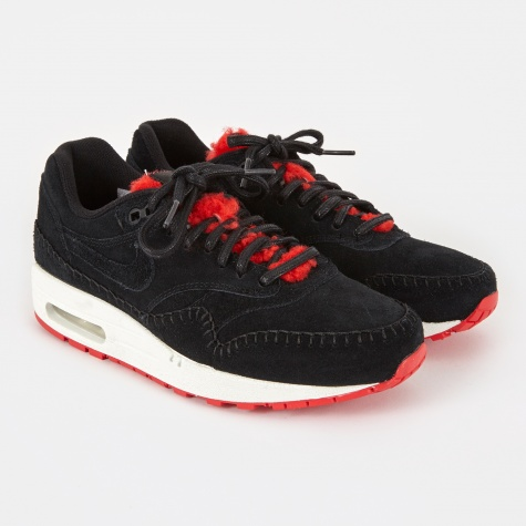 Air Max 1 PRM - Black/Black-Action Red