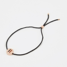 Ruifier Black Cord R Bracelet - 18K Rose Gold Plated