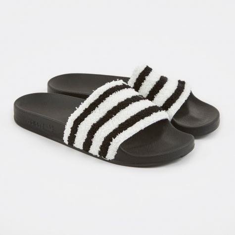 Adilette - White/Black Fur