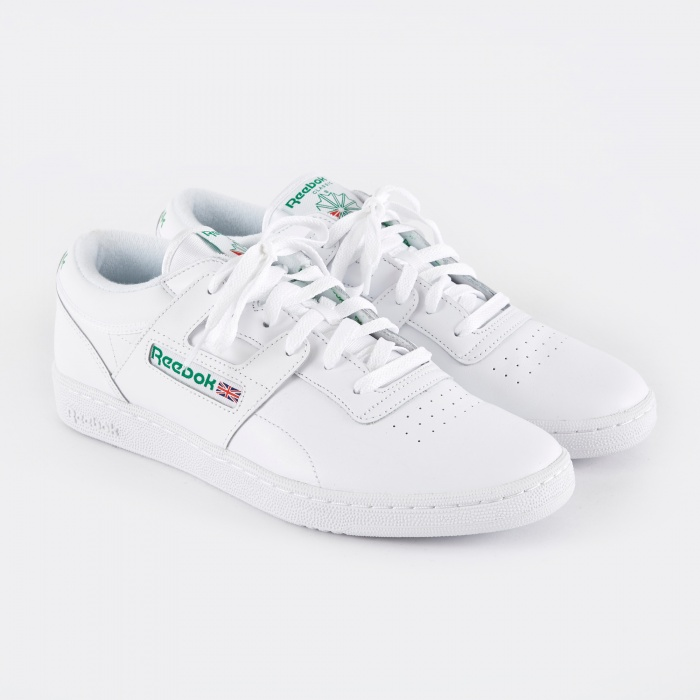 Reebok Club Workout - White/Glen Green/Red (Image 1)