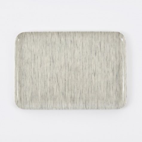 Linen Tray Grey Stripe - Medium