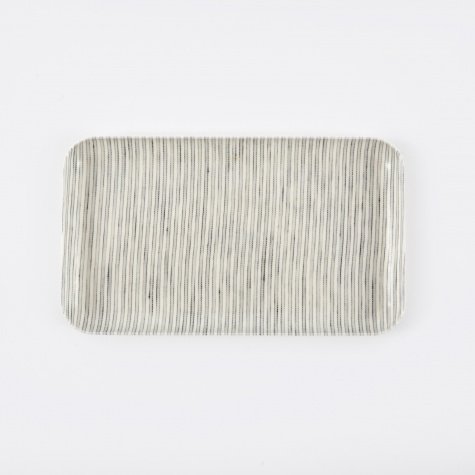 Linen Tray Grey Stripe - Small