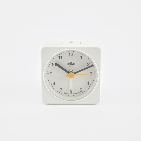 Classic Travel Alarm Clock - White
