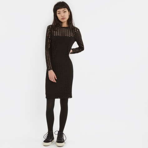 T By Alexander Wang Circular Hole Jaquard L/S Dress - Black
