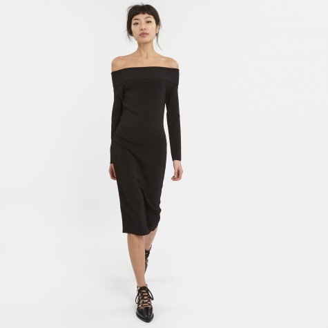 T By Alexander Wang Needle Knit Off The Shoulder Dress - Black