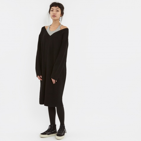 T By Alexander Wang Merino Knit Pullover Dress - Black