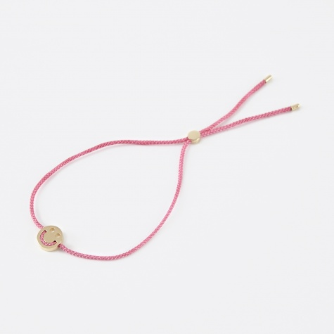 Pink Cord Happy Bracelet - 18K Yellow Gold Vermeil