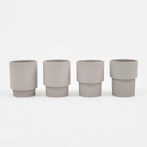 Groove Cups - Grey (Set of 4)