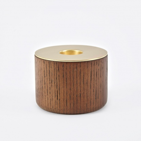 Chunk Of Wood Candle Holder Medium - Brass