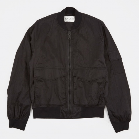 Patch Pocket Bomber Jacket - Parachute Black