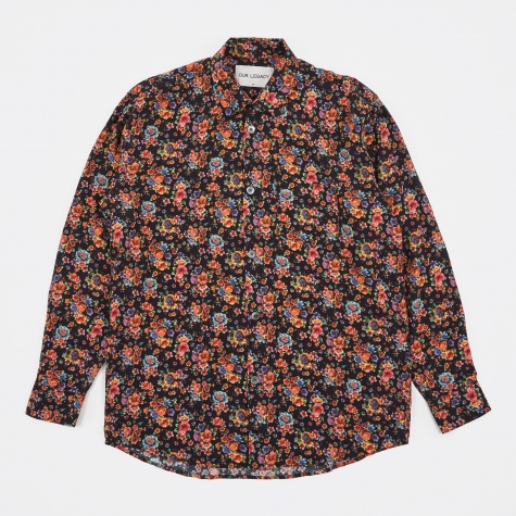 Initial Shirt - Black Flower Print