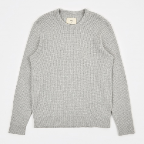 Cotton Waffle Crew - Light Grey Melange