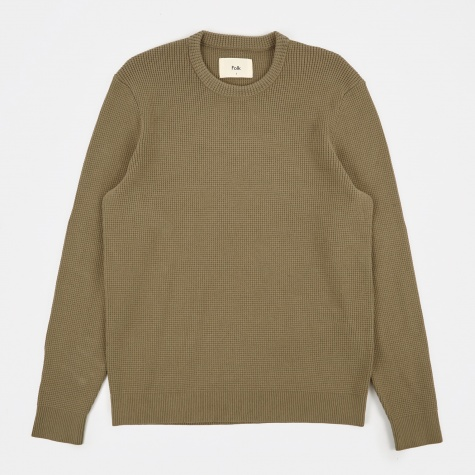 Cotton Waffle Knit - Soft Military Green