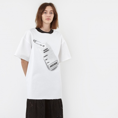 MM6 Denim T-Shirt With Explanation Print - White/Print