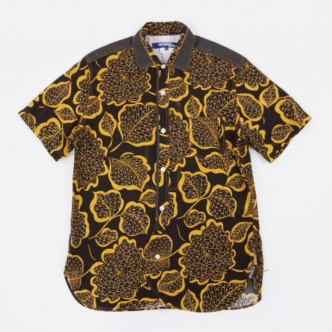 Rayon Print Shirt - Black/Yello