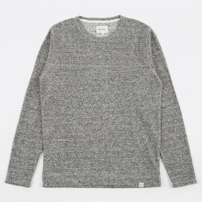 Norse Projects Halfdan Contrast Flame T-Shirt - Mouse Grey Melan (Image 1)