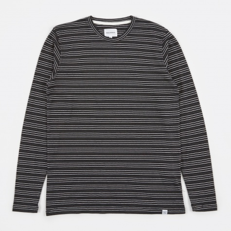 James Fine Stripe LS T-Shirt - Black/Ecru