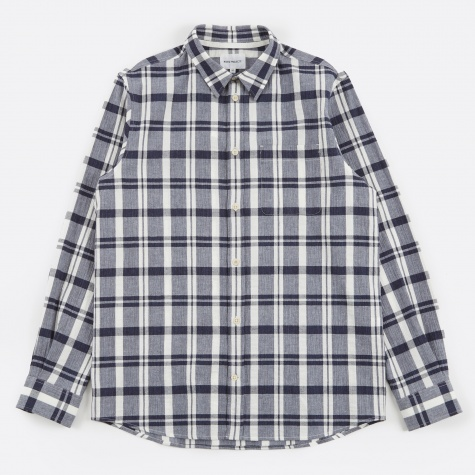 Villads Textured Check Shirt - Navy