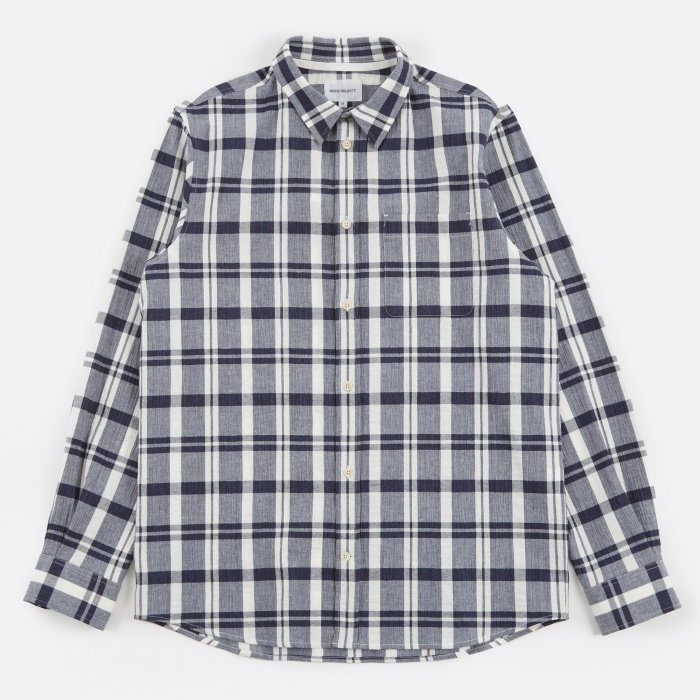 Norse Projects Villads Textured Check Shirt - Navy (Image 1)