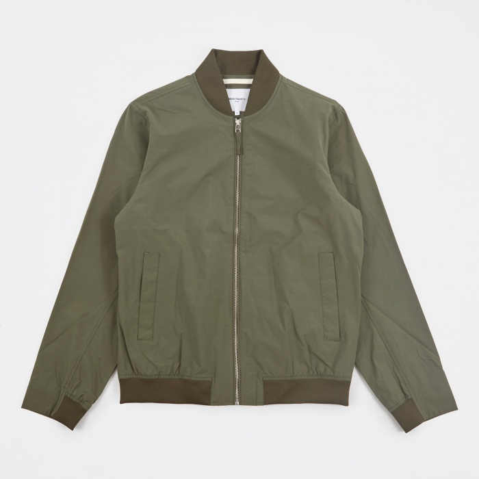 Norse Projects Ryan Crisp Cotton Jacket - Dried Olive (Image 1)