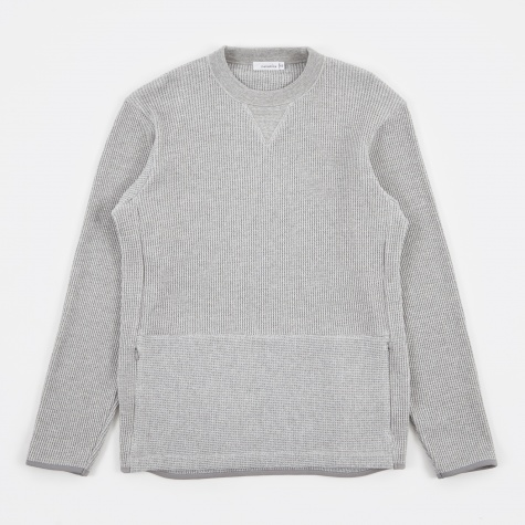 Crew Neck Waffle Sweatshirt - Heather Grey