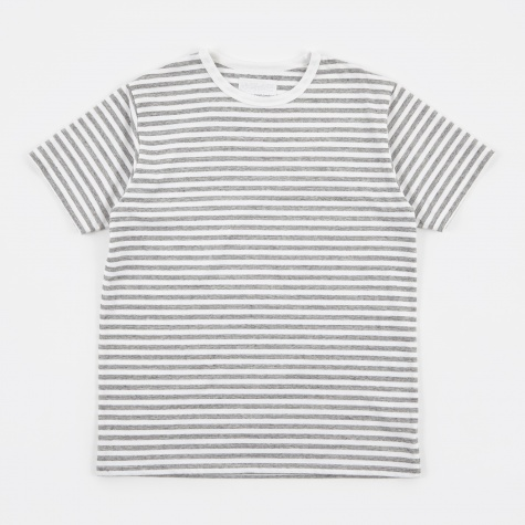 COOLMAX Striped Jersey Tee - Heather Grey/White