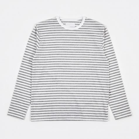 COOLMAX Striped Jersey L/S Tee - Heather Grey/White
