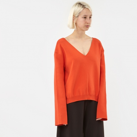 Hit V Neck Jumper - Red