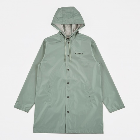 Long Hooded Coach Jacket - Olive