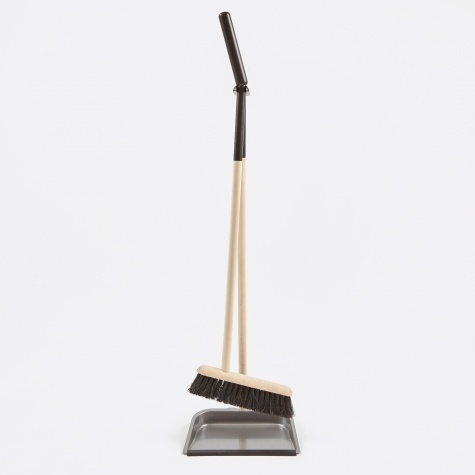 Long-Handled Dustpan & Brush Set - Black