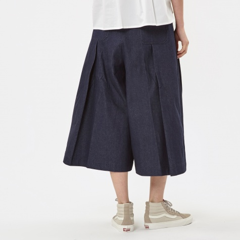 Tuck Skirt Trousers - Denim