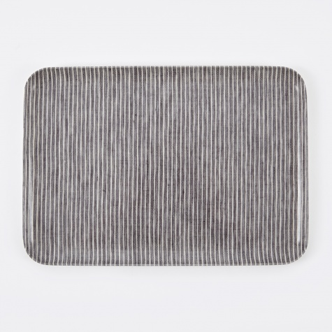Linen Tray Grey White Stripe - Large