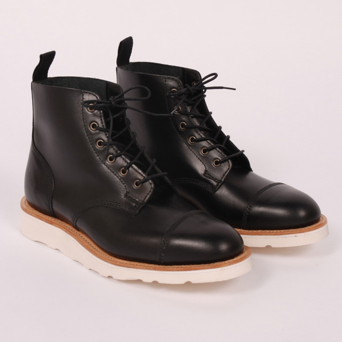 Mark McNairy Toe Cap Derby Boot - Black Waxy (Image 1)