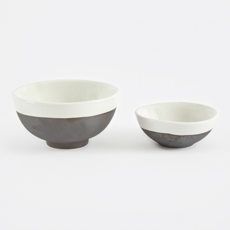 Bowl 'Esrum' Small Stoneware Two Set - Ivory/Brown