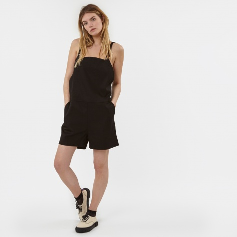 Short Strap Canvas Overall - Black