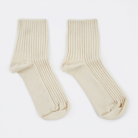 Rib Ankle Socks - Ecru