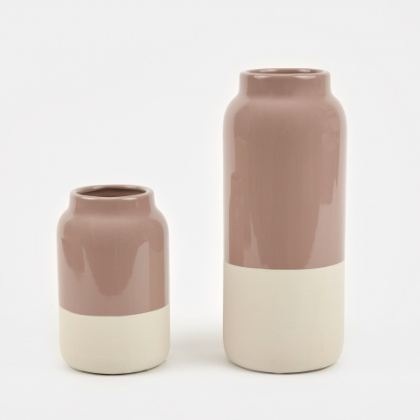 Vase 'Raw' Stoneware 2 Set - Fawn