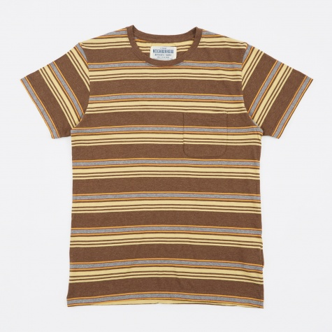 M. Border C-Crew T-Shirt - Brown