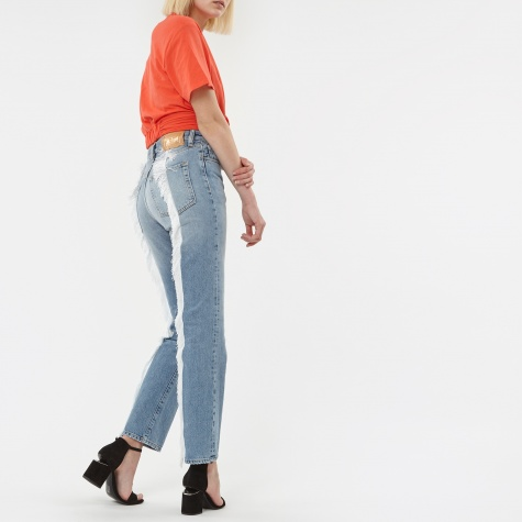 Lily White Fringed Jean - Light Wash
