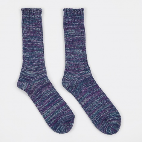 5 Colour Mix Crew Sock - Indigo