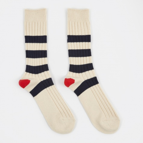 Stripe Crew Sock - Natural