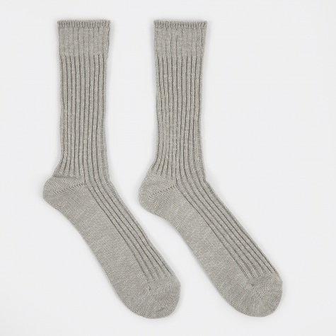 Slub Rib Crew Sock - Grey