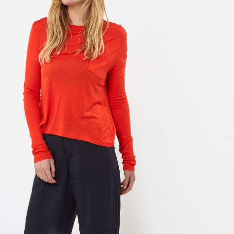 Cropped Long Sleeve Pocket T-Shirt - Scarlet