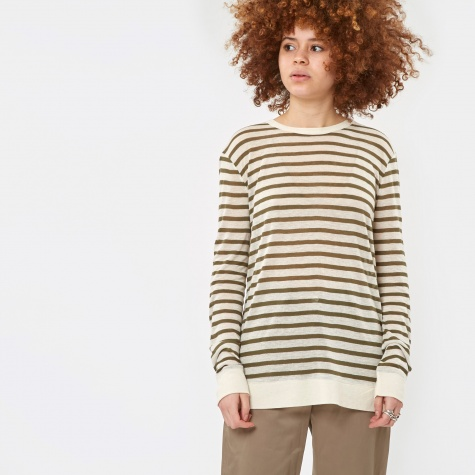 Linen Stripe Long Sleeve Crewneck T-Shirt - Cream