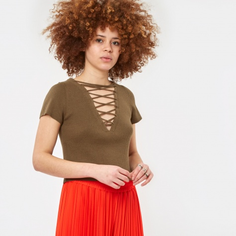 Cashmere Lace Up Short Sleeve Pullover Jumper