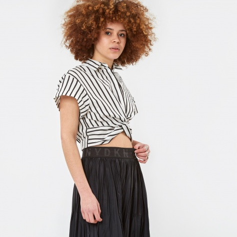 Stripe Twist Front Cropped Shirt - Black/White