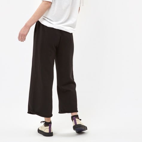 Cropped Wide Leg Sweat Pants - Black