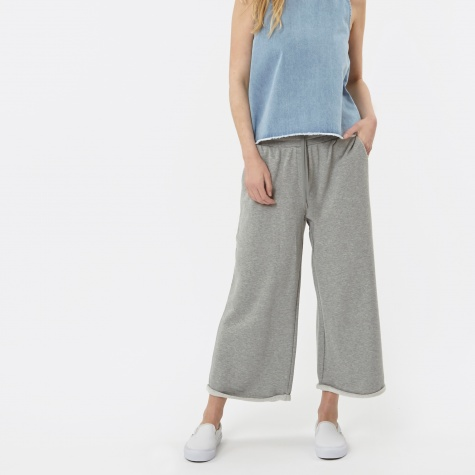 Cropped Wide Leg Sweats Pant - Grey