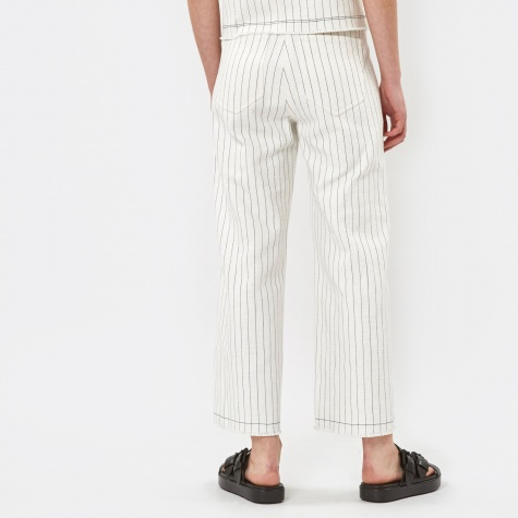 Striped Highwaisted Cropped Raw Edge Trousers - W