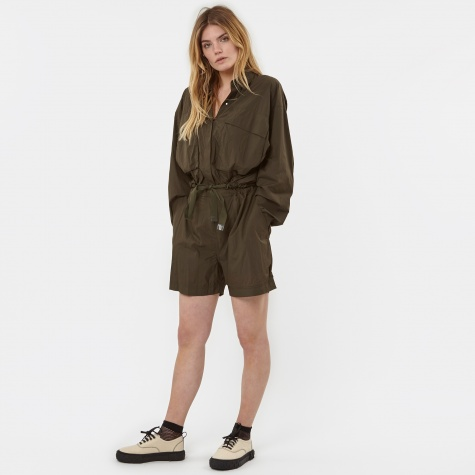 L/S Snap Front Romper Coat - Military